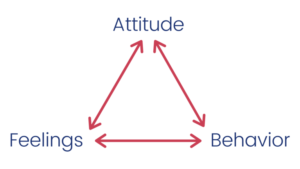 A triangle with arrows pointing to each point of the triangle, which read attitude, feelings, and behavior.