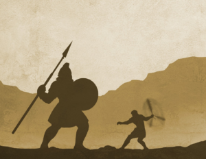 Silhouette of David and Goliath drawing.